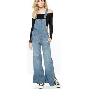 FREE PEOPLE Chambray D Ring Overalls